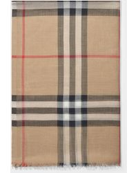 Burberry Sheer Check Scarf - Natural