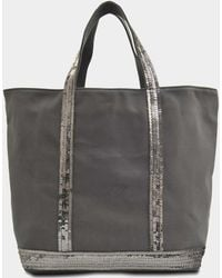 Vanessa Bruno Canvas And Sequins Medium + Tote In Anthracite Cotton - Gray