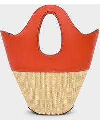Danse Lente Small Leather & Raffia Tote - Orange