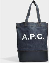 A.P.C. - Axel Tote Bag In Dark Navy Canvas And Smooth Leather - Lyst