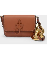 JW Anderson Chain Midi Anchor Bag In Pecan Cow Leather - Brown