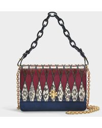 0b2944d29f14 Tory Burch - Kira Pieced Exotic Shoulder Bag In Multicolour Navy Blue  Calfskin - Lyst