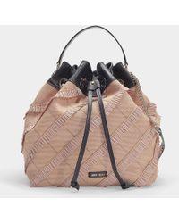 Jimmy Choo - Juno S Bucket Bag In Black Nappa Leather With Embossed Choo Logo - Lyst