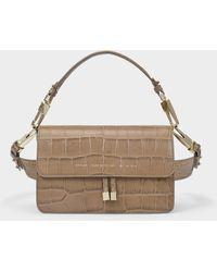 Chylak Shoulder Bag In Glossy Beige Croc Embossed Leather - Natural