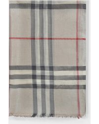 Burberry - Metallized Threads Giant Check Scarf In Stone And Silver Wool - Lyst
