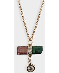 Jacquie Aiche - Pave Watermelon Crystal Bar Necklace In 14k Rose Gold And Diamonds - Lyst