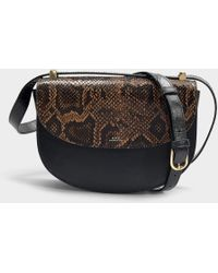 A.P.C. - Genève Bag In Black Cracked Leather And Snake Embossed Leather - Lyst