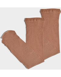 Maria La Rosa - Toe Soft Metallic Socks In Bronze Polyamide And Lurex - Lyst