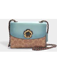 COACH - Parker Colorblock 18 Rivets Shoulder Bag In Light Turquoise Canvas - Lyst