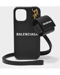 Balenciaga Étui pour IPhone et AirPods Cash en Cuir Grainé Noir