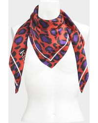 KENZO - Carre Leopard Print Silk Scarf - Lyst