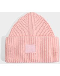 Acne Studios Pansy N Face Beanie In Blush Pink Wool