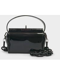 GU_DE Water Pvc Top Handle Bag In Black Croc Embossed Leather And Pvc