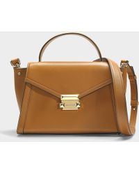 MICHAEL Michael Kors - M Group Medium Top Handle Satchel Bag In Brown Calfskin - Lyst