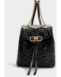 Ferragamo - Quilted Gancio Leather Backpack - - Lyst