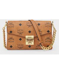 MCM Handbag Millie In Cognac Visetos Canvas - Brown
