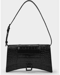 Balenciaga Sac Hourglass Slim Sling en Cuir Embrossé Noir