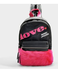 Marc Jacobs - Treck Pack Fur Love Medium Backpack In Black And Pink Polyester - Lyst