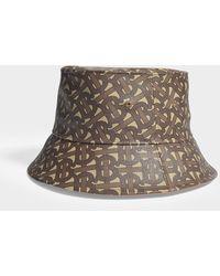 Burberry Bucket Hat In Monogram Canvas - Brown