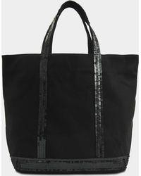 Vanessa Bruno - Canvas And Sequins Medium Tote In Black Cotton - Lyst