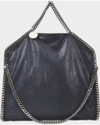 Stella McCartney 3 Chain Shaggy Deer Falabella Bag In Navy Synthetic Material - Blue