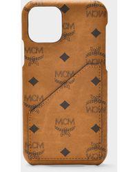 MCM Iphone 11 Pro Cover In Cognac Visetos Pvc - Brown