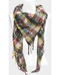 Burberry - 140x140 Scribble Check Printed Bandana Scarf In Pine Green - Lyst