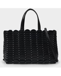 Paco Rabanne Pacoio Handbag In Black Leather