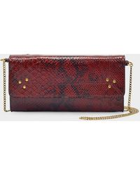 Jérôme Dreyfuss Pif Wallet In Burgundy Croc Embossed Leather - Multicolor