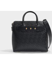 Burberry The Small Monogram Leather Triple Stud Belt Bag - Black