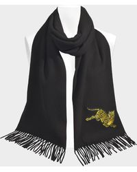 KENZO - Jumping Tiger 50x210 Stole In Jumping Tiger Black Wool - Lyst
