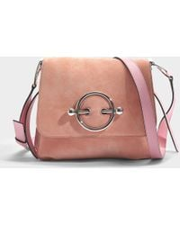 JW Anderson - Disc Bag In Dusty Rose Suede And Calf Leather - Lyst
