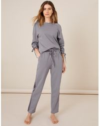 Monsoon Grey Grey Lounge Laurie Velour Trim Joggers, In Size: L, In Size: L