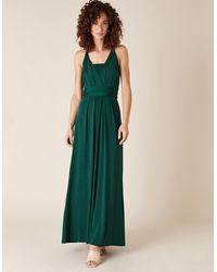 Monsoon Green Tallulah Twist Me Tie Jersey Wedding Bridesmaid Dress, Size: 22