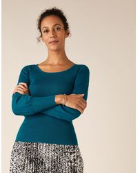 Monsoon Teal Classic Scoop Neck Rib Jumper, In Size: Xl - Blue