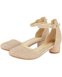 Monsoon Baby Girls Gold Glitter Shimmer Two-part Heeled Shoes, Size: 8 - Metallic