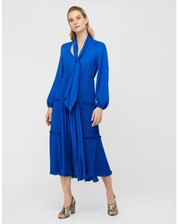 Monsoon Kate Pleat Tiered Midi Dress - Blue