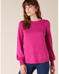 Monsoon Button Back Knit Jumper With Lenzingtm Ecoverotm Pink