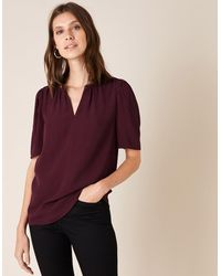 Monsoon Embellished Neck Top With Lenzingtm Ecoverotm Purple