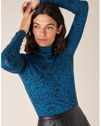 Monsoon Paisley Jersey Polo Top With Lenzingtm Ecoverotm Teal - Blue