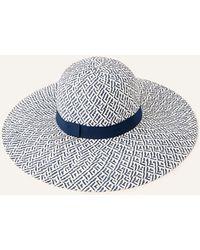 Monsoon Navy Blue Pattern Floppy Straw Hat Plain