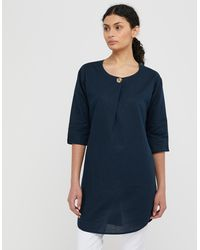 Monsoon Scarlet Longline Tunic Top In Linen And Organic Cotton - Blue