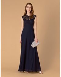 Monsoon Navy Blue Elegant Lolita Maxi Dress Perfect For Special Occasions With Lace Bodice, Size: 12