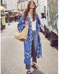 Monsoon Women's Blue And White Embroidered Bailee Bird Kimono, Size: S