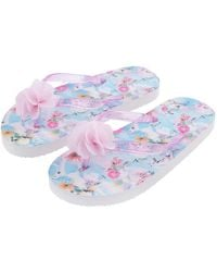 Monsoon Baby Girls Blue Unicorn And Floral Print Flip Flops, Size: 9-10