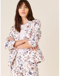 Monsoon Cream Blazer, Floral Print, In Size: 22 - White