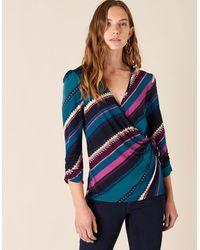 Monsoon Stripe Print Jersey Wrap Top Teal - Blue