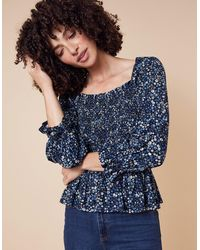Monsoon Davean Ditsy Floral Shirred Jersey Top Blue