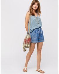 Monsoon Josefine Embroidered Shorts - Blue