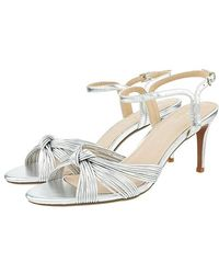 Monsoon Silver Silver Kitty Knot Heeled Sandals, In Size: 41, In Size: 41 - Metallic